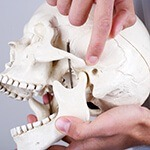 Finger pointing at jaw on human skull