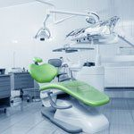 Dental chair in an examination room